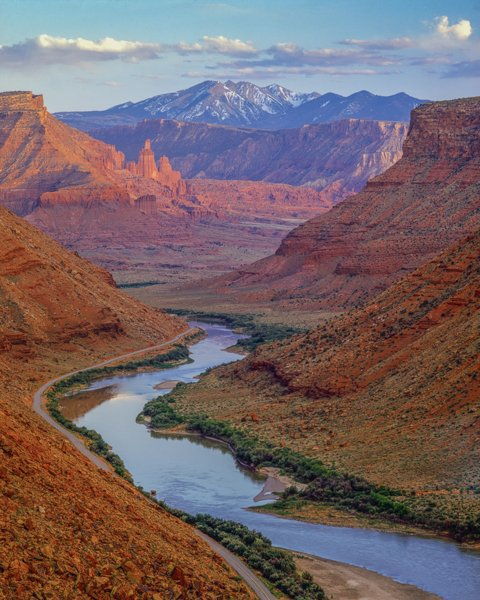 Colorado River, Utah, 128 Road with Fisher Towers and La Sal Mountains in background