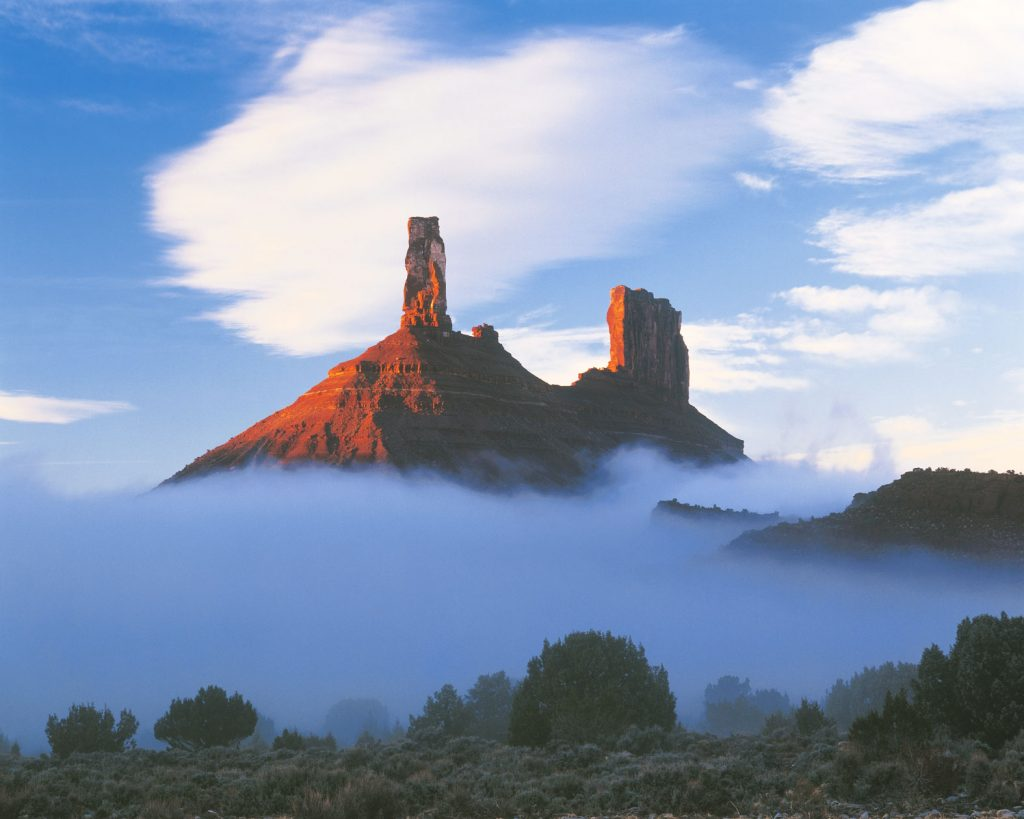 Castle Rock in Fog, Castle Valley, Utah, Proposed La Sal Waters Wilderness, Also called Castleton Tower and Chevrolet Rock, Near Moab, Castle Valley, Utah, Colorado River