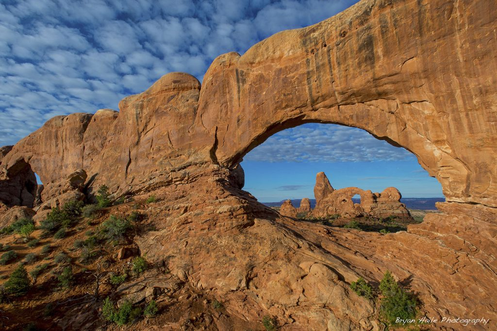 Turret Arch through North Window.  Arches National Park.
