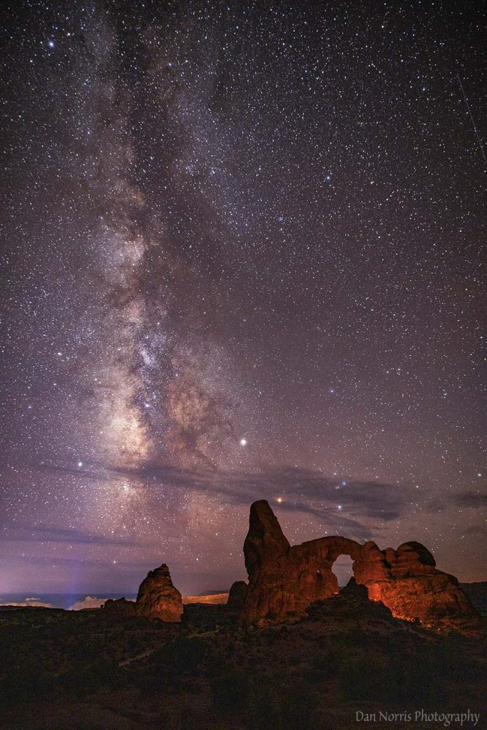 Turret Arch and Milky Way.  Arches National Park.